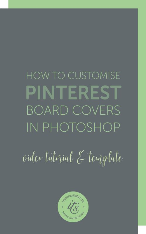 Unlike Facebook and Twitter, you can't add a header image to your Pinterest page. There are a couple of ways, however, that you can make sure Pinterest 'fits in' with everything else.. Today's video will show you how to create customised pinterest boad covers with a Photoshop template (download included). itsorganised.com | Photoshop Tutorials