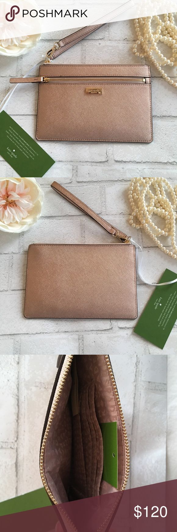 """NEW!!!! Kate Spade Rose Gold Wristlet NEW!!!! Kate Spade Rose Gold Wristlet. Wristlet is detachable and has one big compartment on the inside with four card slots. Outside has a zipper slot for your phone money and or keys. Made of Saffiano leather. Measurements 8"""" x 5"""". No trades. Price is firm unless bundled. Two items 10% off 3+ items 15% off kate spade Bags Clutches & Wristlets"""