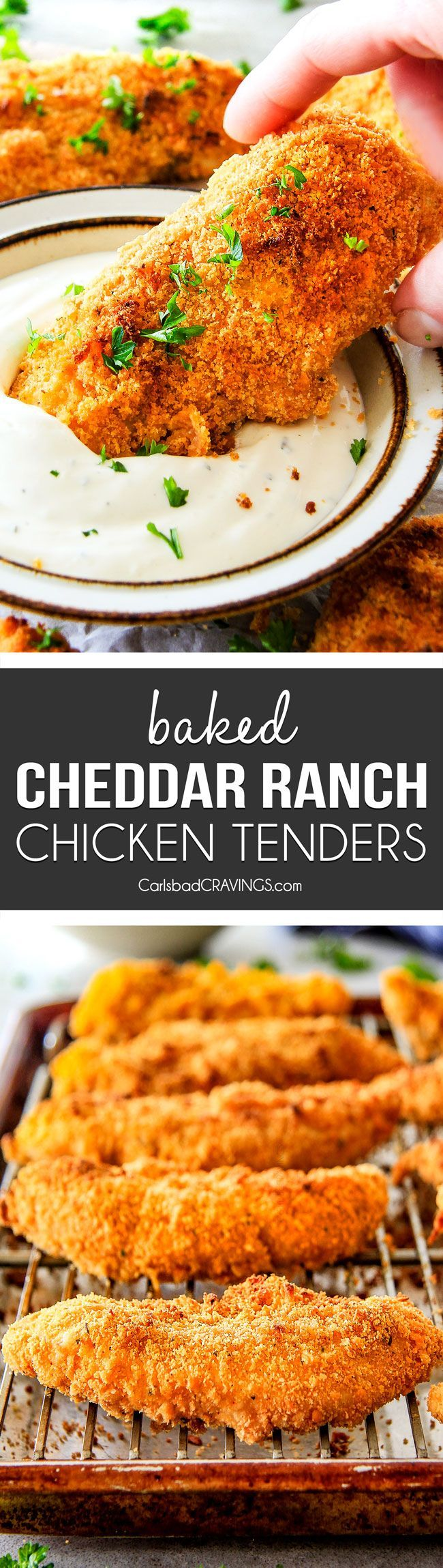 incredibly tender, juicy flavorful Baked Cheddar Ranch Chicken Tenders coated in the most AMAZING cheese cracker breading! These are pure addicting and SO EASY!#chickentenders #Ranchdressing #chickendinner  #ChickenRecipes