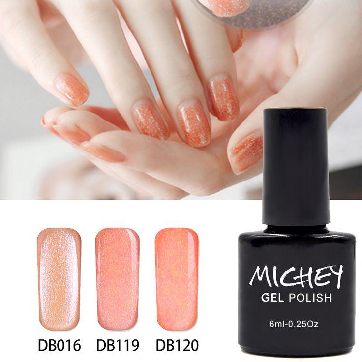 China Manufacturer Hot Sale New Brand MICHEY DIY Magic Gel Polish Orange Glitter UV Gel Nail Glue Need Primer Gel Top Coat  #Affiliate