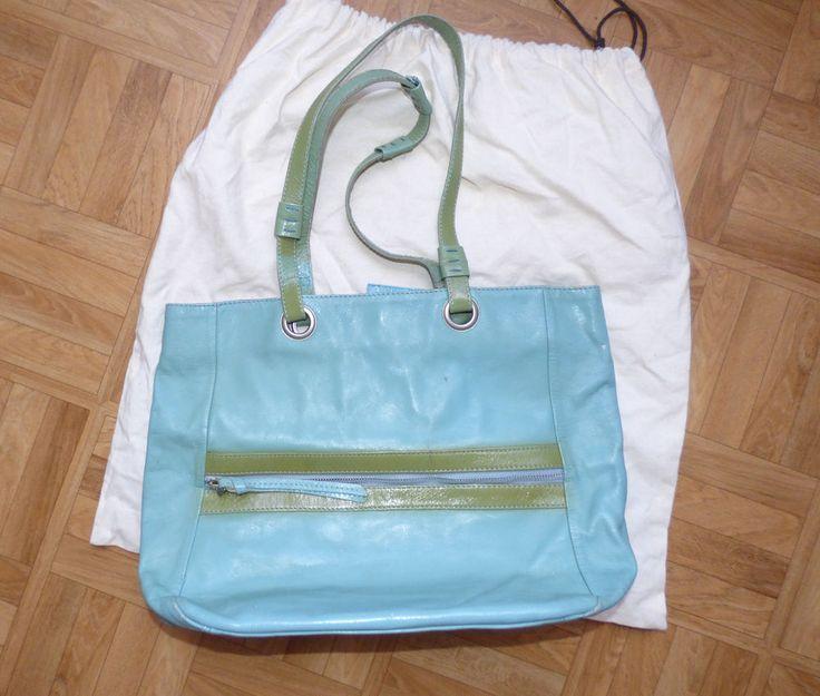 sac cuir verni bleu turquoise et vert Bensimon #Sacshopping