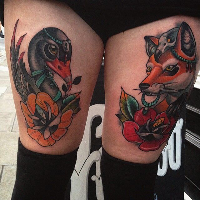 Awesome neo trad double thigh tattoo, fox and black swan by Willem Janssen while guesting at Cloak and Dagger, London. Come back to UK pls <3