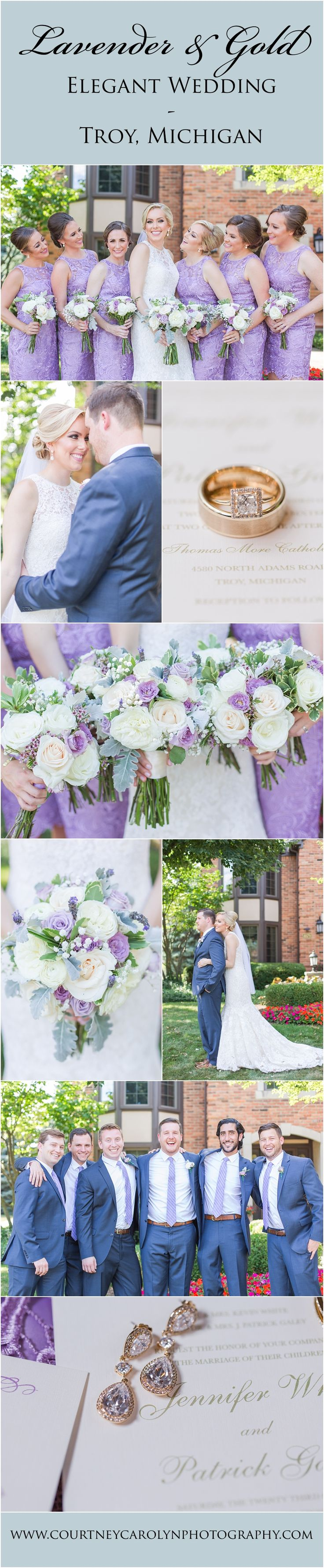 Lavender and Champagne Gold Wedding Day  Colors and Inspiration. Purple and Lavender wedding flowers, gold wedding invitations. Bride wore beautiful lace dress, bridesmaids wore purple and lavender dresses, and the groomsmen wore navy suits with purple and lavender ties in Troy, Michigan.