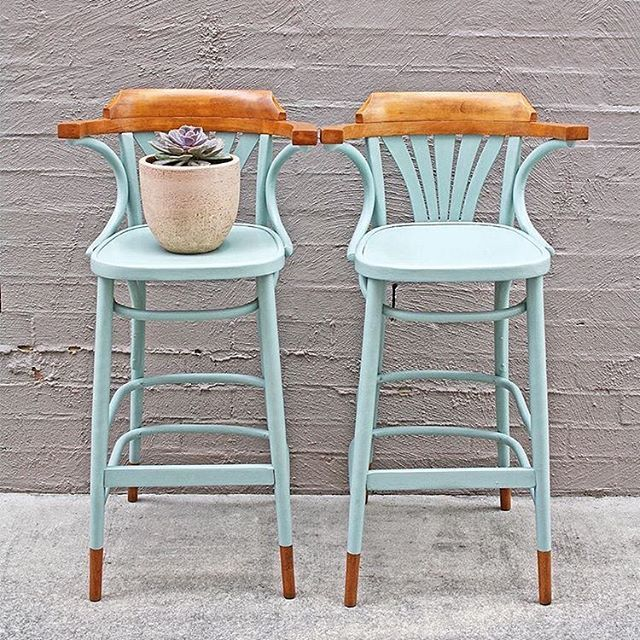A pretty pair of bar stools in Duck Egg Blue Chalk Paint® by With the Grain Home.