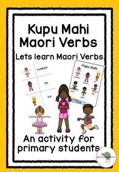 Learn verbs in Maori. An activity for NZ classes.This pack features 14 verbs : cook, dance, drink, eat, listen, look, play, read, run, sing, sleep, swim, talk, write.  Suitable for immersion or mainstream classesIncluded are- 2 Posters with pictures to demonstrate verbs- 3 simple worksheets where students write verbs- a match up game where students match picture to the verb- a glossary of the verbs Maori to English and English to MaoriGreat for Maori Language week