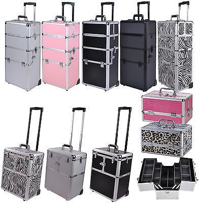 Pro Aluminum Rolling Makeup Train Case Salon Artist Cosmetic Organizer Trolley in Health & Beauty, Salon & Spa Equipment, Rolling Makeup Cases | eBay