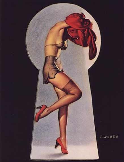 1950s pin-up girl by Gil Elvgren. Love the keyhole idea.
