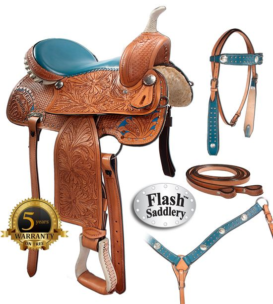 "Model 8157 is brand new and features a beautiful blue inlay on chestnut tooled leather! This barrel saddle is only $524.99 for a limited time and comes in sizes 15-16""!  if only it were black!"