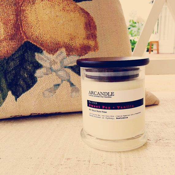 Sweet Pea Vanilla. Large Soy Candle. by ArcandleSoyCandles