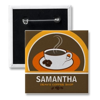 Coffee Shop Coffee Cup Cafe Staff ID Name Tags Pinback Button by sunnymars  Browse other Buttons, Pins or Badges    This cool, cute, trendy, modern, stylish cafe staff, waiter or waitress round name tag button, badge or pin features a cool vector illustration of a cup of coffee. Customize it by adding your own text to it. Perfect name tag for coffee shop employees.