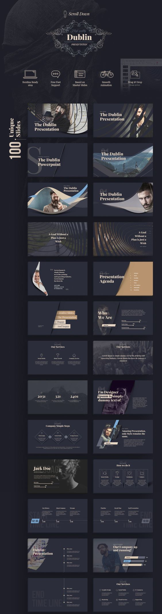 100 Unique & specially designed slides: