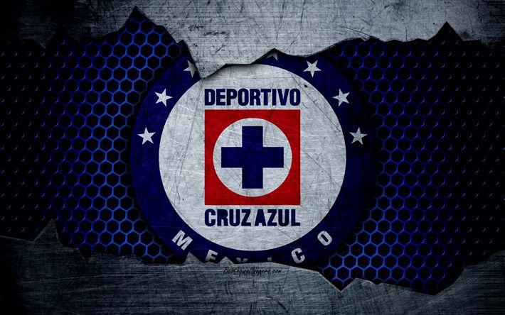 Download wallpapers Cruz Azul, 4k, logo, Liga MX, soccer, Primera Division, football club, Mexico, grunge, metal texture, Cruz Azul FC