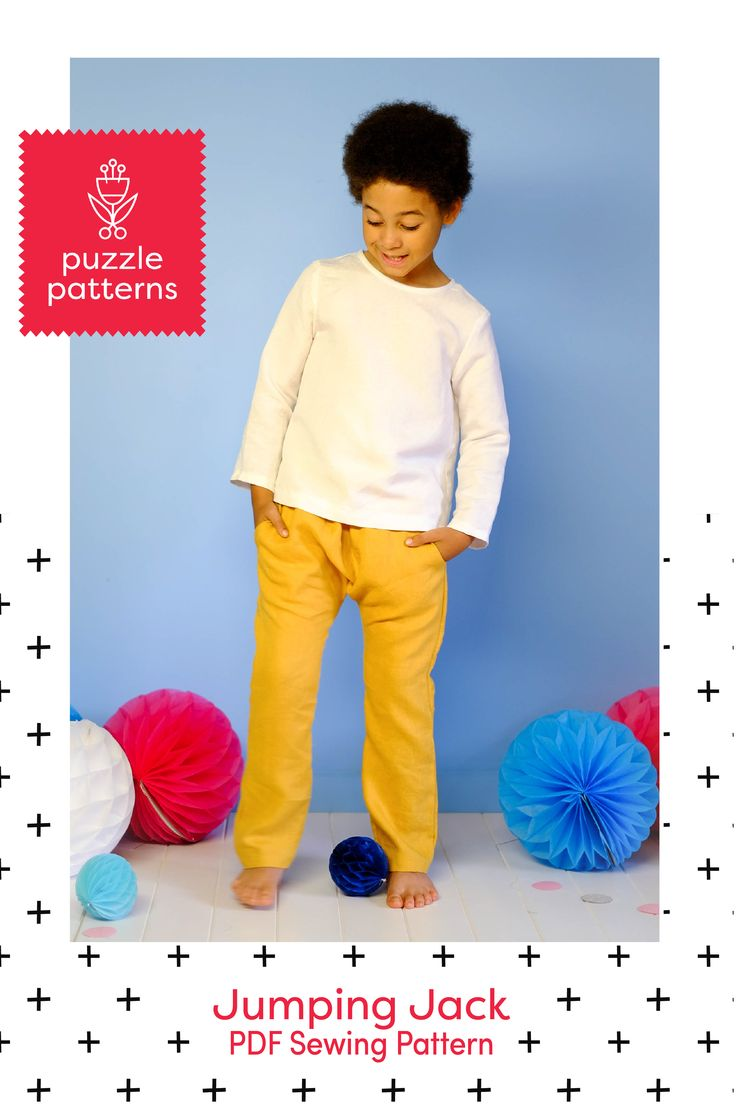 PDF sewing pattern, unisex, boys, girls, harem pants, top.