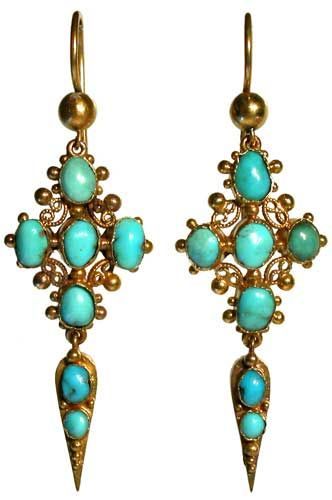 A pair of Victorian gold turquoise pendant earrings of cruciform design with filigree decoration