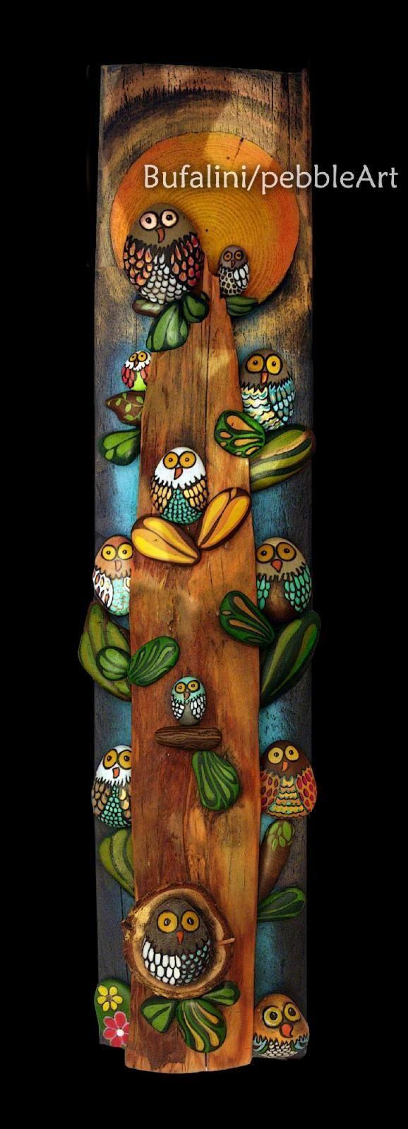 Pebble owls on a tree Pinned by www.myowlbarn.com