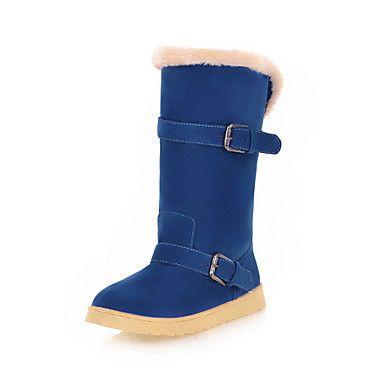 Suede Flats salto flat boots meados de bezerro com fivelas de calçados casuais (mais cores) – EUR € 32.99