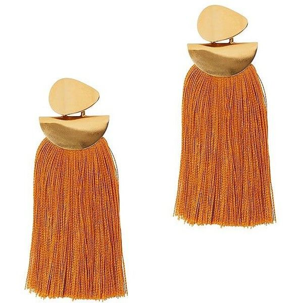 Lizzie Fortunato Women's Crater Tassel Earrings ($185) ❤ liked on Polyvore featuring jewelry, earrings, orange jewelry, lizzie fortunato jewelry, orange earrings, long post earrings and earring jewelry