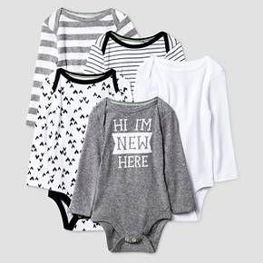 Baby Long-Sleeve 5 Pack Bodysuit Baby Cat & Jack™ - Heather Grey/Ebony : Target
