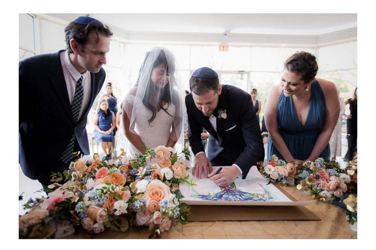 Rainbow Tree Ketubah featured on The Modern Jewish Wedding in a Real Wedding