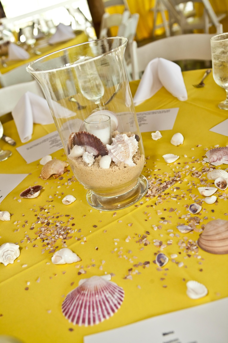 Wedding Centerpieces Yellow Sand And Sea Shell