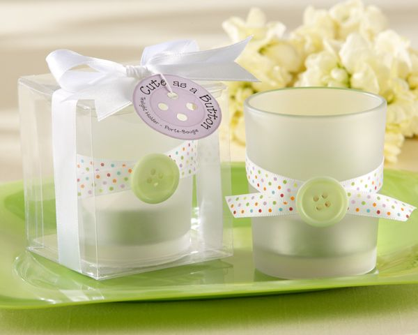Cute as a Button Frosted Glass Tealight Holder - Set of 4 FavorsShower Ideas, Gift Ideas, Baby Shower Favors, Parties Favors, Tealight Holders, Buttons, Frostings Glasses, Shower Gift, Baby Shower