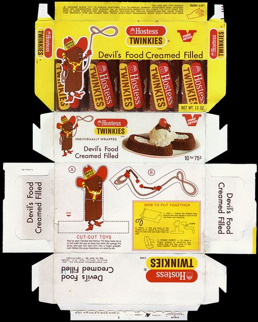 Hostess - Devil's Food Twinkie snack cakes box - 1971 by JasonLiebig, via Flickr