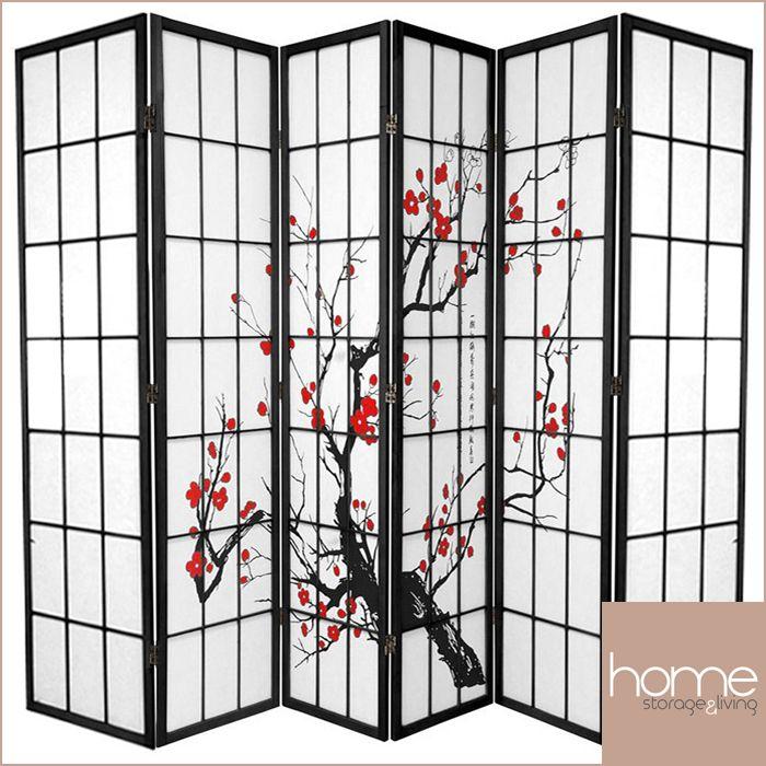 Black Cherry Blossom 6 Fold Room Divider - www.hsandl.com.au