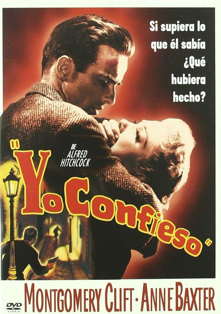 """""""Yo confieso"""" (1953) película del mago del suspense Alfred Hitchcock, con Montgomery Clift, Anne Baxter, Karl Malden, Brian Aherne. Basada en una obra teatral de Paul Anthelme. Con guión de William Archibald."""
