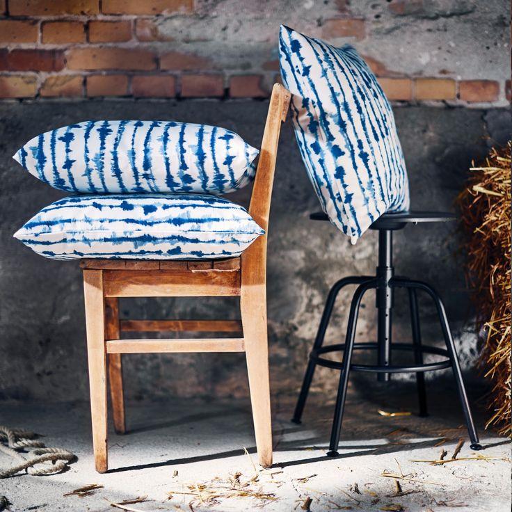 STRIMSPORRE Fodera per cuscino bianco, blu Ikea