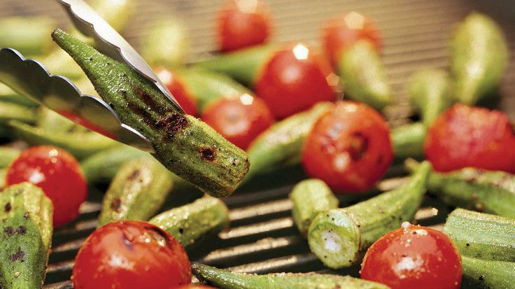 Recipe: Grilled Okra and Tomatoes  While you have the grill fired up for burgers and chicken, throw on some veggies too. Sprinkle the okra and tomatoes with fresh ba