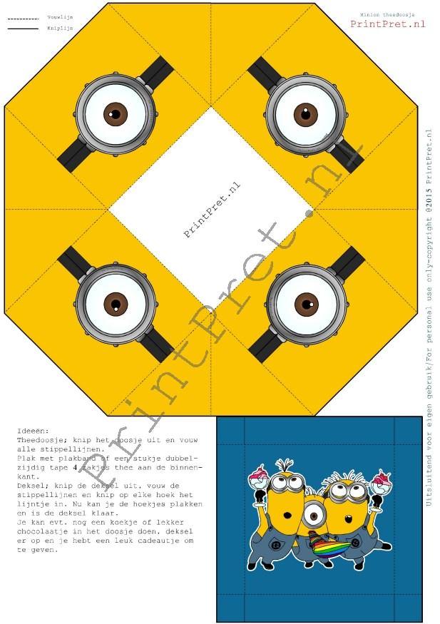 Minion theedoosje vouwen met de download van www.printpret.nl Leuke traktatie voor de juf of meester.