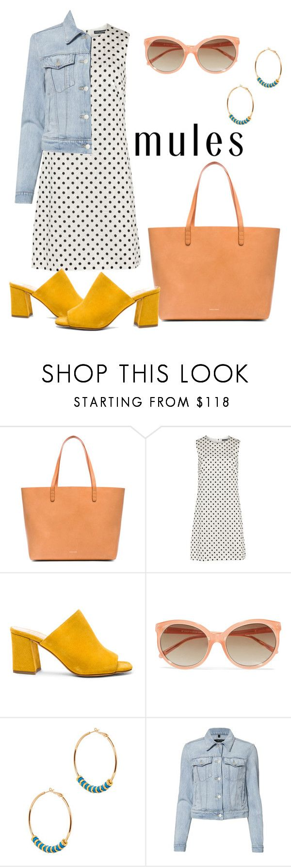 """Madrid"" by silverfishx ❤ liked on Polyvore featuring Mansur Gavriel, Dolce&Gabbana, Maryam Nassir Zadeh, Linda Farrow, Alice Menter, J Brand, Summer, polkadot, mules and minidress"