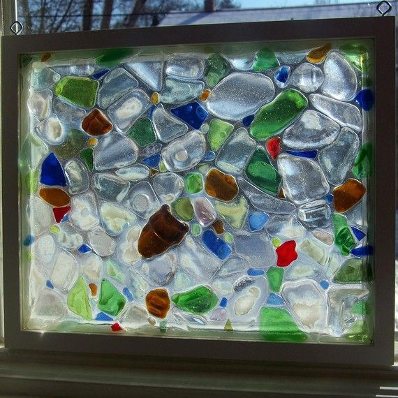 A one of a kind sun catcher for your beach inspired home!    Handmade in my studio, each piece of glass is indivually placed and adhered