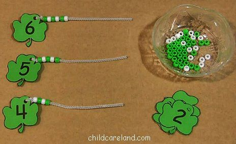 Shamrock Bead Count and Lace for St. Patrick's Day.