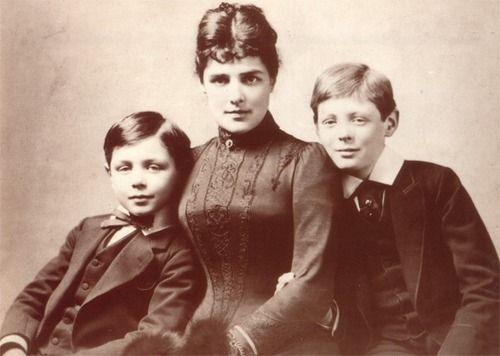 runawayrose:    1880s. Lady Randolph Churchill and her sons: Winston Churchill and John Strange Spencer-Churchill.