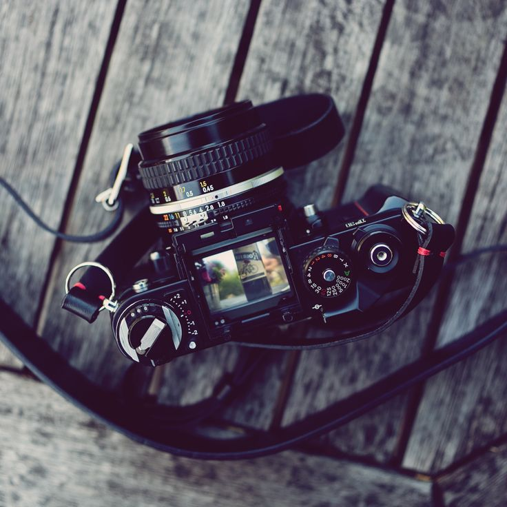 Our black handmade leather camera neck strap and Nikon F3.