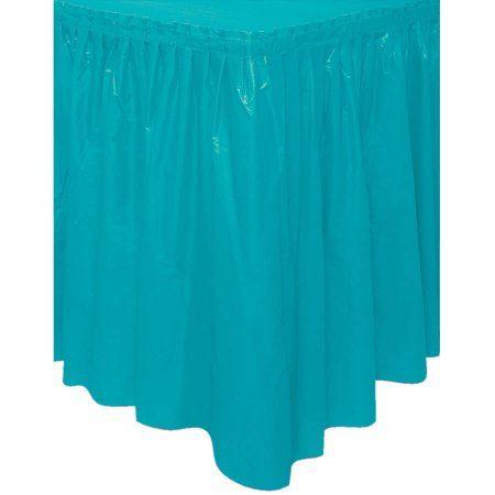 Plastic Teal Table Skirt, 14', Blue
