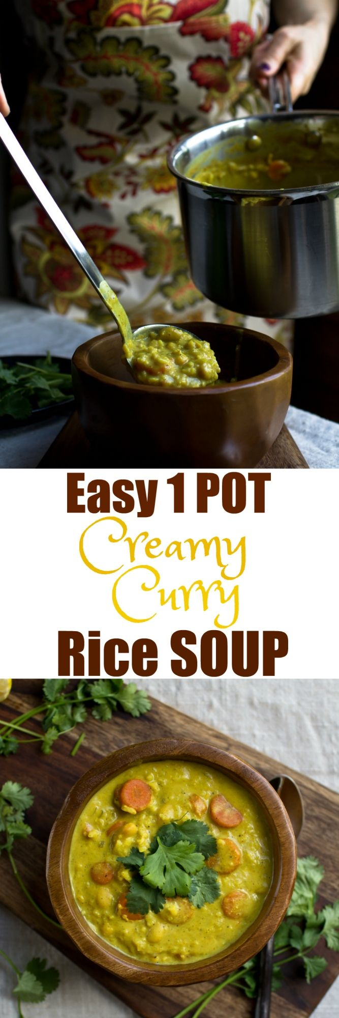 This incredible vegan 1 Pot Creamy Curry Rice Soup is so hearty, filling and made with all whole plant-based ingredients. It's not only healthy, it is downright comfort food. So creamy, it's hard to believe it is dairy-free and oil-free! It's even better the next day! via @thevegan8