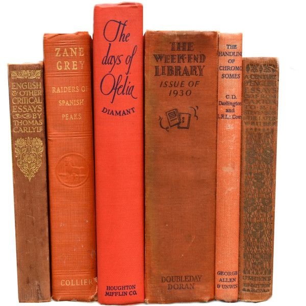 Set of 6 Vintage Shabby Chic ORANGE DECORATIVE BOOKS Centerpiece... (600400 BYR) ❤ liked on Polyvore featuring home, home decor, small item storage, orange home accessories, book boxes, book-end, book ends and orange home decor