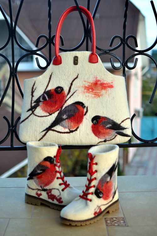 Felted White Women Bullfinches Boots and by ApratovaFelting