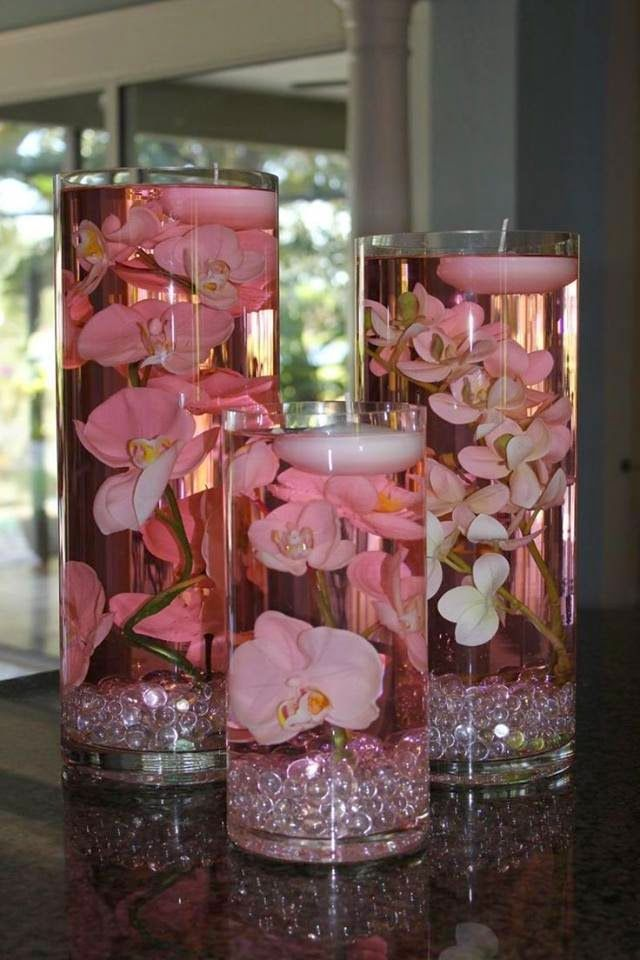 Submersible Centerpiece Ideas.  Pinned by Afloral.com from http://diyallthings.blogspot.co.uk/2014/09/21-unique-wedding-centerpiece-ideas.html ~Afloral.com has high-quality faux flowers, vases and filler for your DIY party centerpieces.