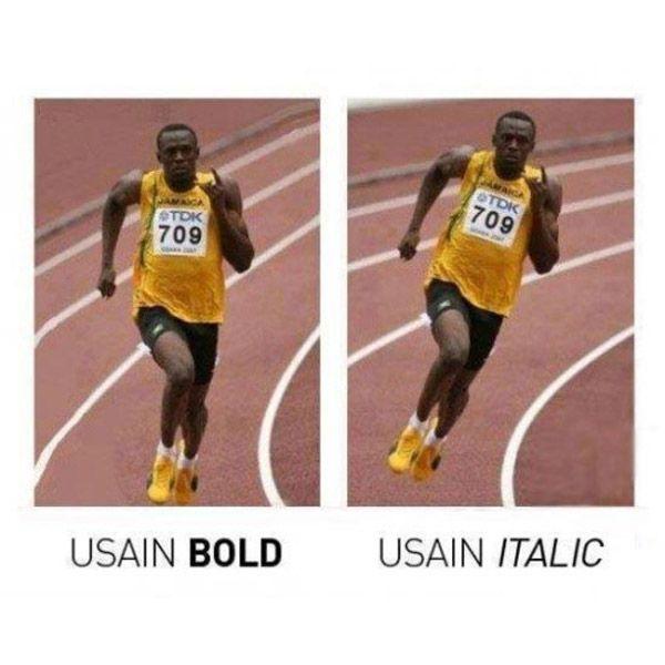 Usain Bold y Usain Italic. #humor #risa #graciosas #chistosas #divertidas