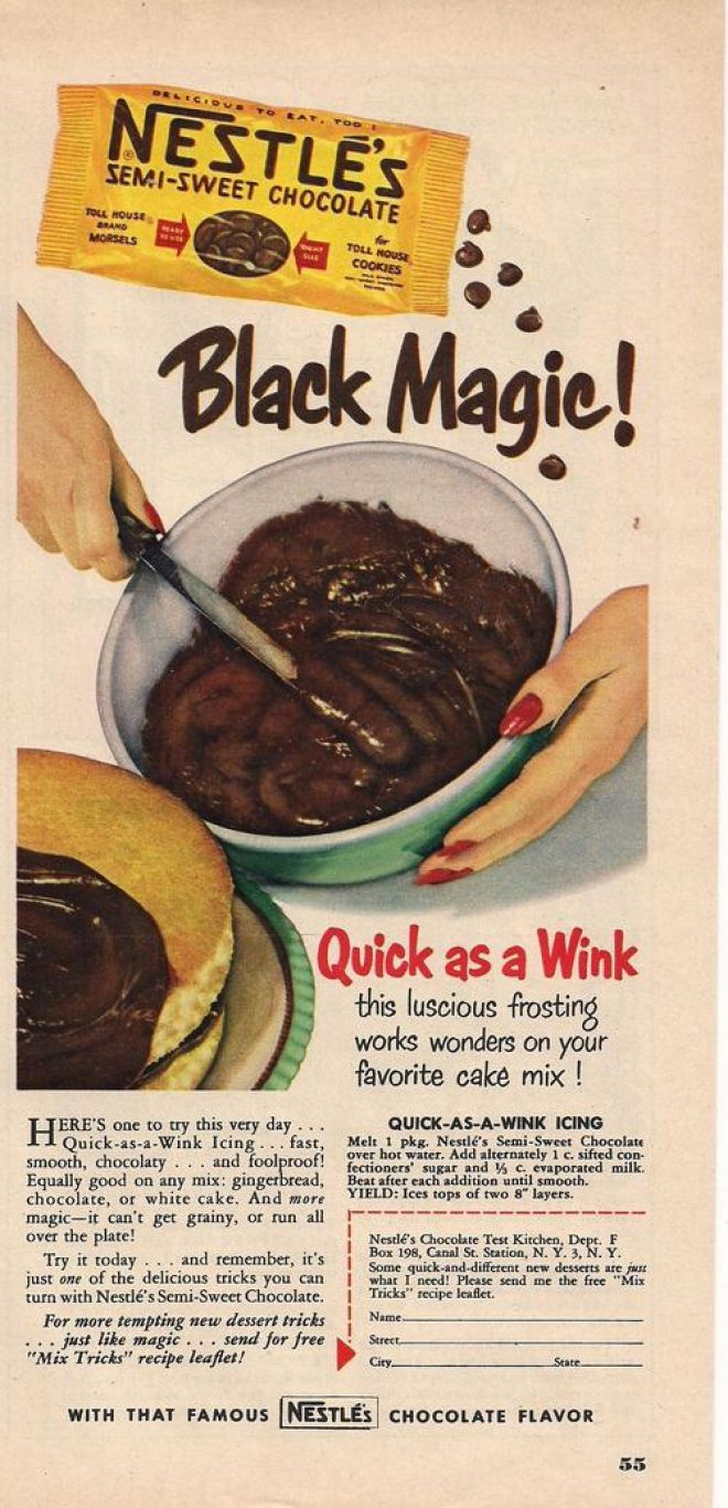 Black Magic Frosting. The recipe is located on the right side of this ad, at the bottom above the order form. Sounds delicious and spoon-licking!!!!