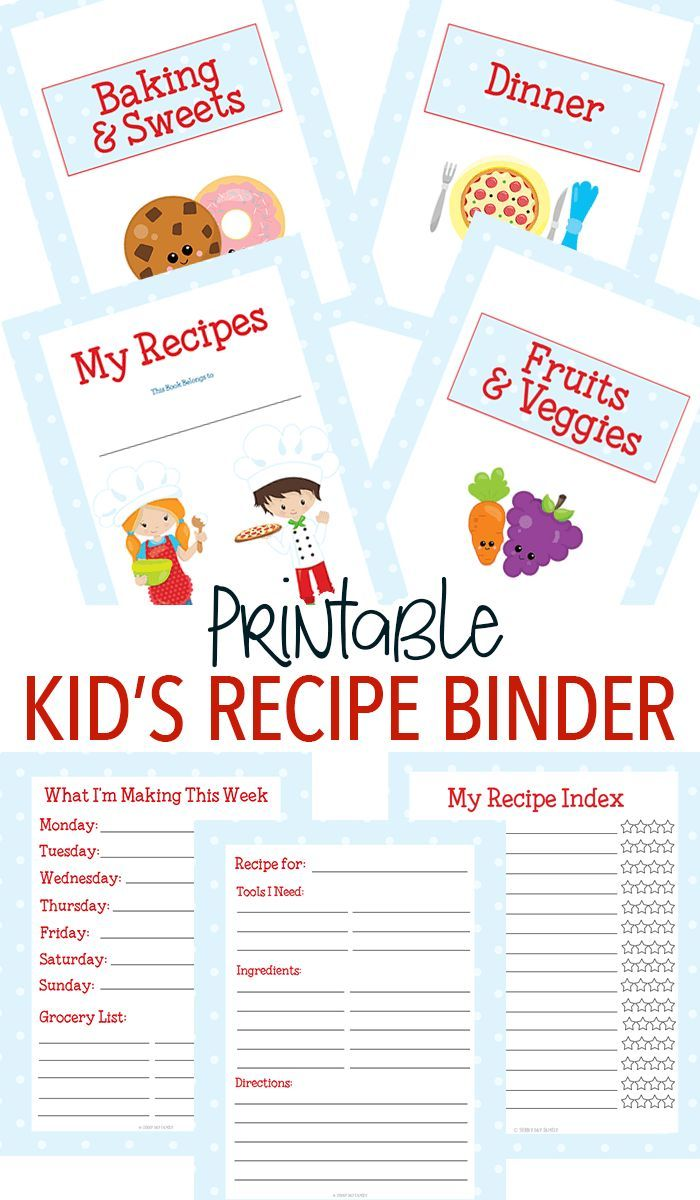 Make a custom recipe binder for kids with this adorable printable set! Little chefs will love to have their own kids cookbook filled with all of their favorites. 15 total pages including category dividers, kid friendly recipe card and more. Makes a great