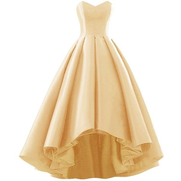 Fluorodine Women Sweetheart Short Front Long Back A Line High Low Prom... ($120) ❤ liked on Polyvore featuring dresses, beige cocktail dress, hi low dress, gold homecoming dresses, homecoming dresses and prom dresses