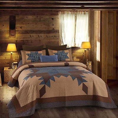 Primitive Blue and Brown Star Quilt Set QUEEN Size Country Charm Rustic Bedding