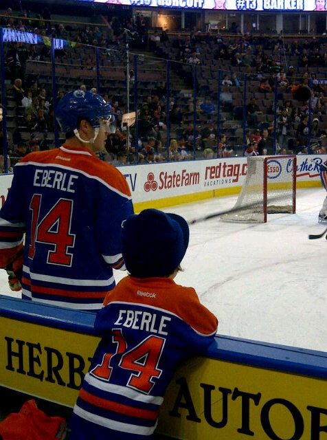 A picture that speaks louder than words... Jordan Eberle and his ability to inspire younger generations.