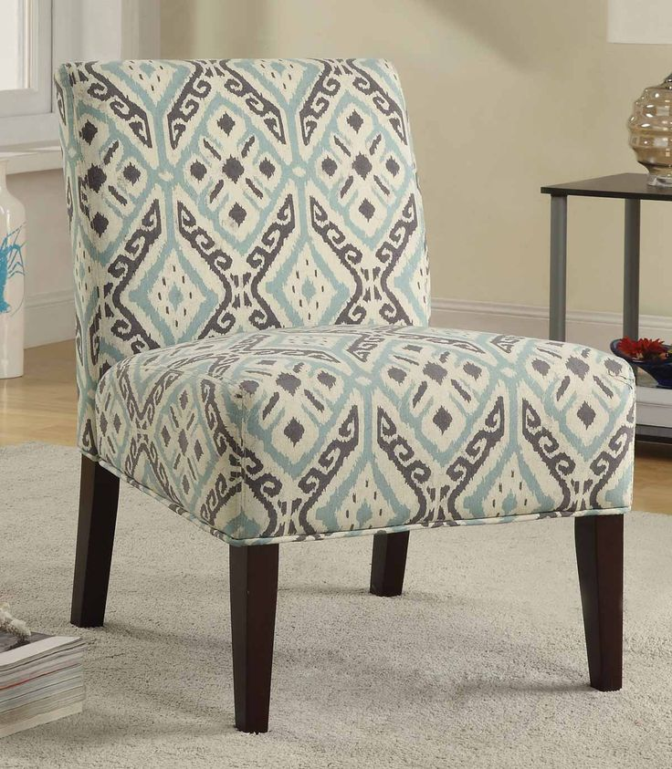 Best Coaster 902191 Accent Chair Brown Light Blue Pattern 400 x 300