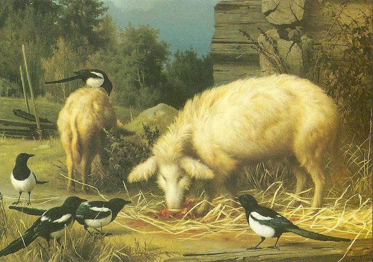 """""""Sikoja ja harakoita"""" 1880 Ferdinand von Wright"""