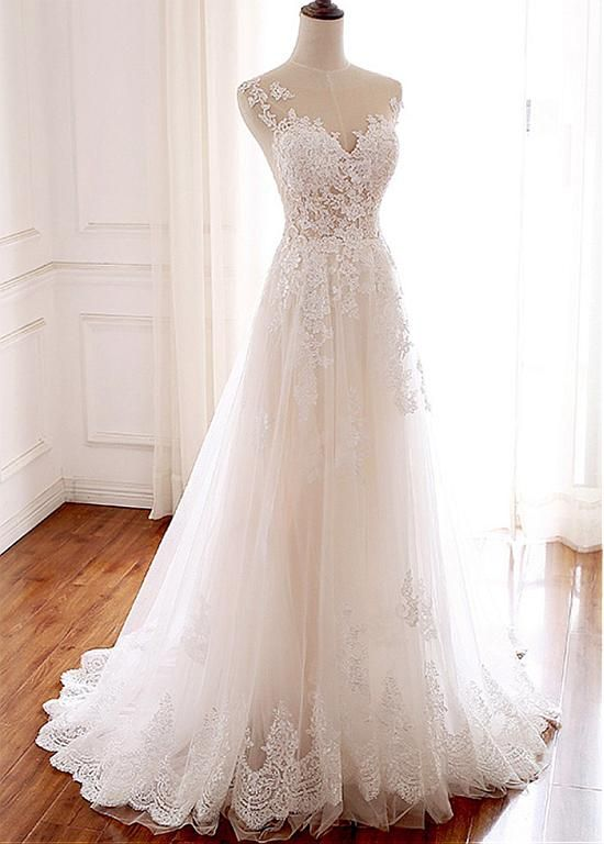 Lilybridalshop Elegant Tulle Jewel Neckline Full-length A-line Wedding ceremony With Lace Appliques